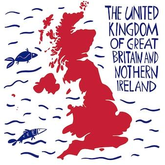 Handgetekende gestileerde kaart van het verenigd koninkrijk.