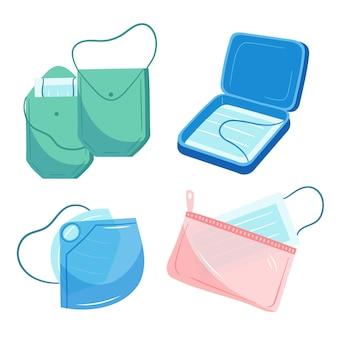 Handgetekende gezichtsmasker opbergdoos collectie