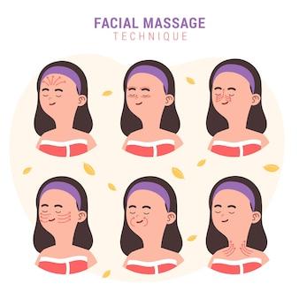 Handgetekende gezichtsmassagetechniek
