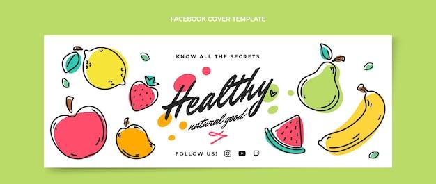 Handgetekende gezonde voeding facebook cover