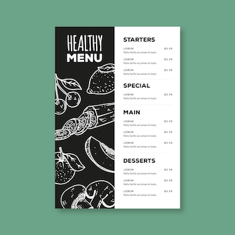 Handgetekende gezonde voeding menusjabloon