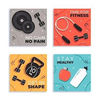 Handgetekende gezondheid en fitness instagram posts collectie posts