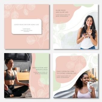 Handgetekende gezondheids- en fitness-instagrampostscollectie met foto
