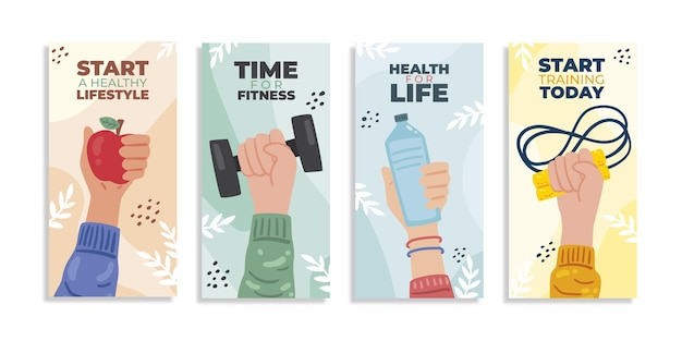 Handgetekende gezondheids- en fitness-instagramverhalencollectie fitness