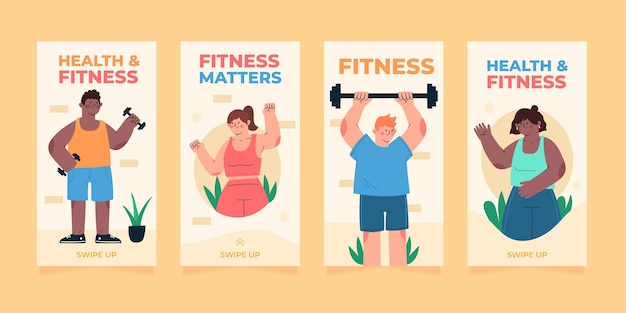 Handgetekende gezondheids- en fitness-instagramverhalencollectie