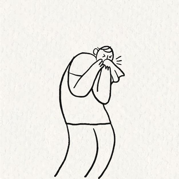 Handgetekende gezondheidszorg doodle vector, man niezen karakter