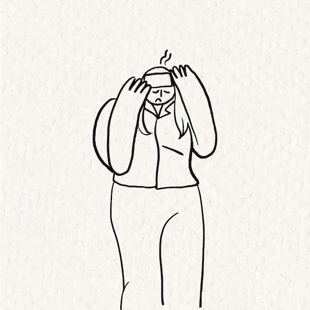 Handgetekende gezondheidszorg doodle vector, vrouw met koorts karakter