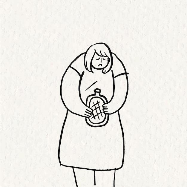 Handgetekende gezondheidszorg doodle vector, vrouw met periode krampen karakter