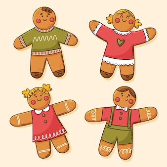 Handgetekende gingerbread man cookies collectie