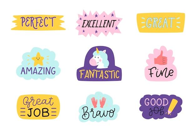 Handgetekende goed werk en geweldige job stickercollectie