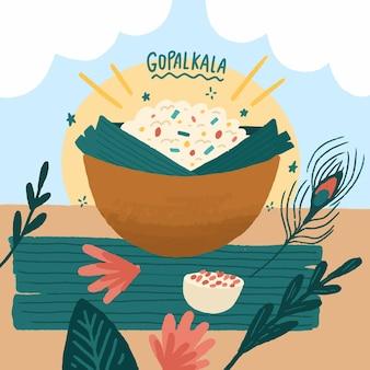 Handgetekende gopalkala-illustratie