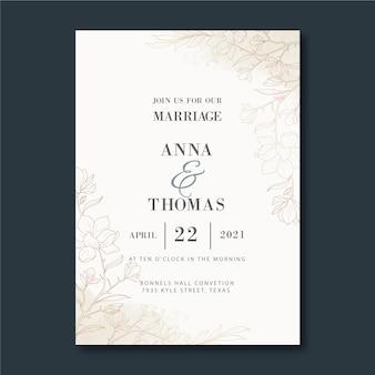 Handgetekende gouden bruiloft uitnodiging sjabloon