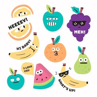 Handgetekende grappige sticker collectie concept