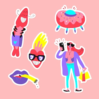 Handgetekende grappige sticker set met zure kleuren