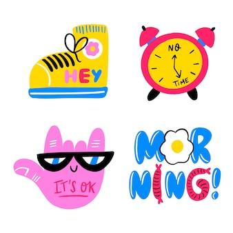 Handgetekende grappige sticker set