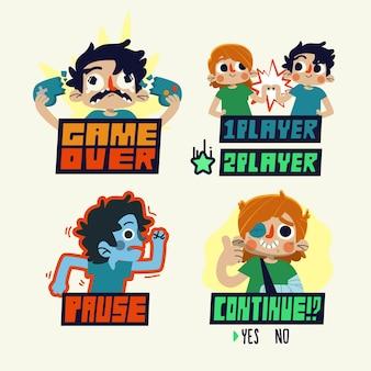 Handgetekende grappige stickers ontwerp