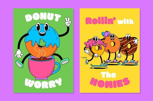 Handgetekende grappige trendy cartoonomslagen met tekst