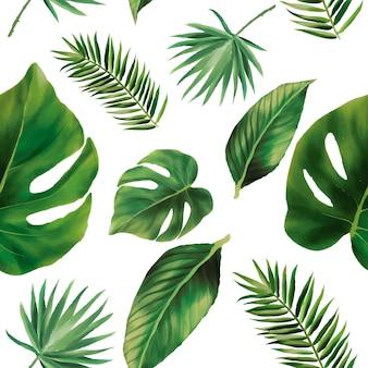 Handgetekende groene aquarel laat naadloos patroonontwerp achter