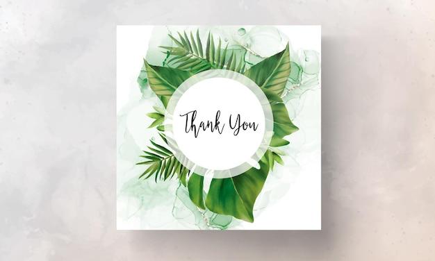 Handgetekende groene bladeren bruiloft uitnodiging sjabloon