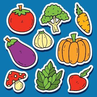 Handgetekende groente cartoon doodle sticker ontwerp