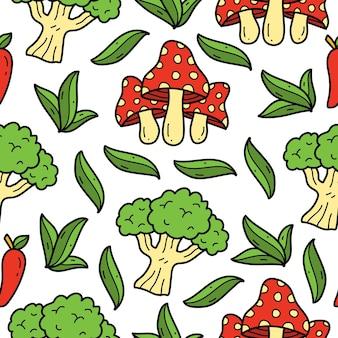 Handgetekende groente doodle cartoon patroon ontwerp