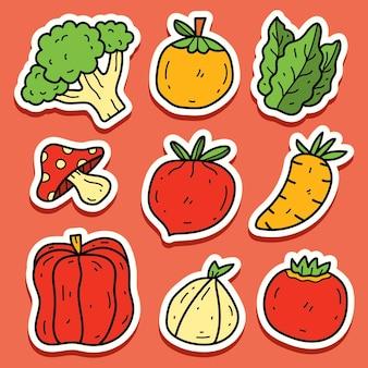 Handgetekende groente doodle cartoon sticker ontwerp