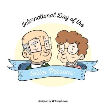 Handgetekende grootouders om de dag van de ouderen te vieren