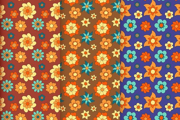 Handgetekende groovy bloemmotief collectie