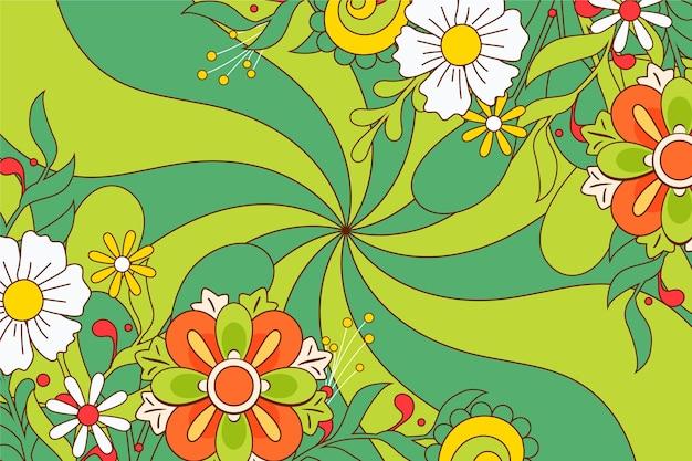 Handgetekende groovy psychedelische achtergrond