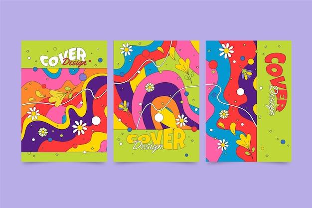 Handgetekende groovy psychedelische covercollectie