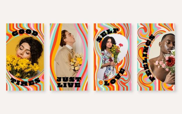 Handgetekende groovy psychedelische instagramverhalencollectie