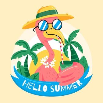 Handgetekende hallo zomerontwerp