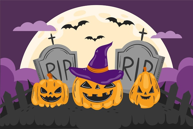 Handgetekende halloween achtergrond