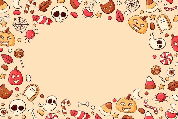 Handgetekende halloween-achtergrond