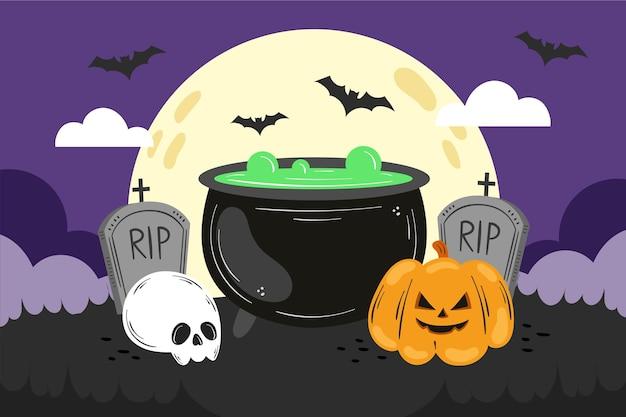 Handgetekende halloween behang
