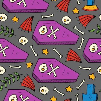 Handgetekende halloween cartoon patroon illustratie