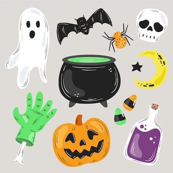 Handgetekende halloween element collectie