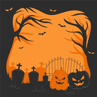 Handgetekende halloween frame concept