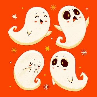 Handgetekende halloween-geestencollectie