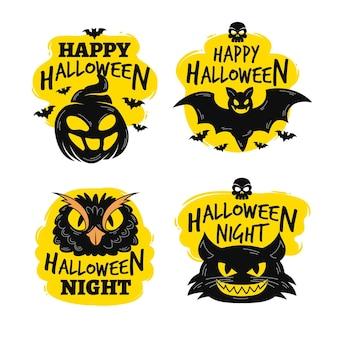 Handgetekende halloween label collectie design