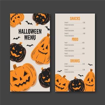 Handgetekende halloween-menu
