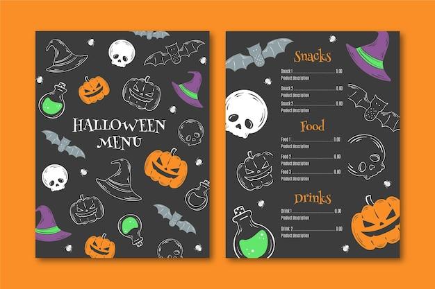 Handgetekende halloween menusjabloon