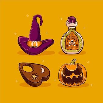 Handgetekende halloween ornamenten collectie