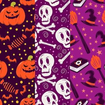 Handgetekende halloween patronen thema