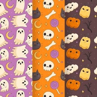 Handgetekende halloween-patronencollectie