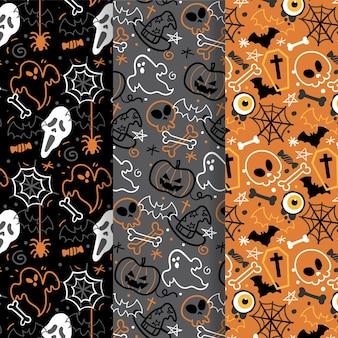 Handgetekende halloween patroon collectie thema