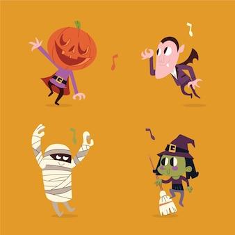 Handgetekende halloween-personagesverzameling