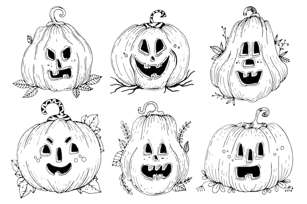 Handgetekende halloween pompoen collectie thema