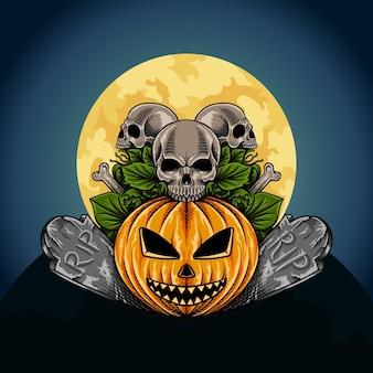 Handgetekende halloween-pompoen met skeletillustratie