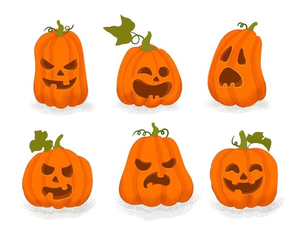 Handgetekende halloween-pompoencollectie